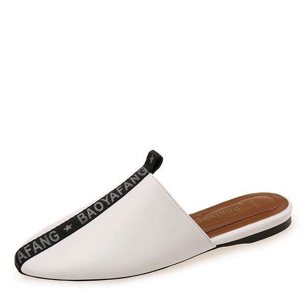 Frauen PU Flascher Absatz Flache Schuhe Geschlossene Zehe Pantoffel Schuhe