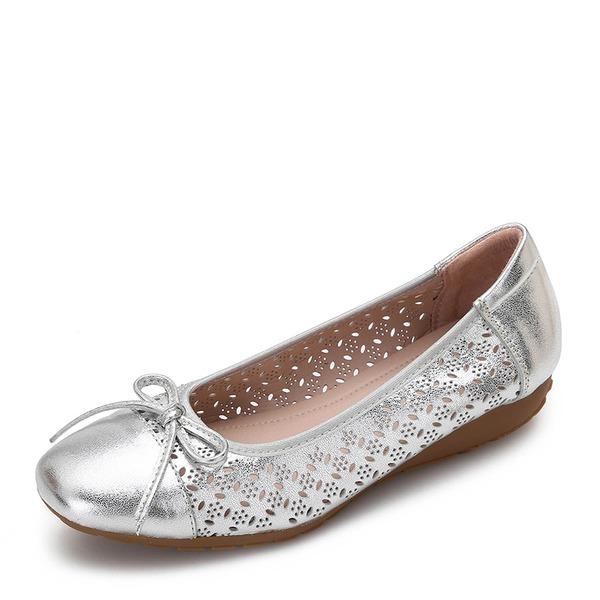Frauen Echtleder Flascher Absatz Flache Schuhe Geschlossene Zehe mit Bowknot Schuhe