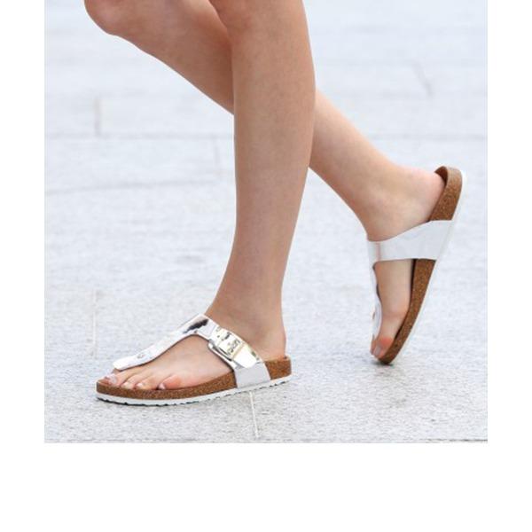 Femmes PU Talon plat Sandales Chaussures plates À bout ouvert Escarpins Tongs Chaussons chaussures