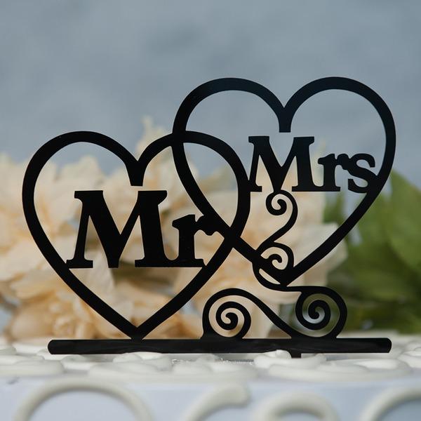 Corazones Dobles/Mr & Mrs Acrílico Decoración de tortas