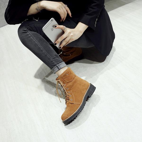 Mulheres Camurça Salto robusto Botas Bota no tornozelo com Aplicação de renda sapatos