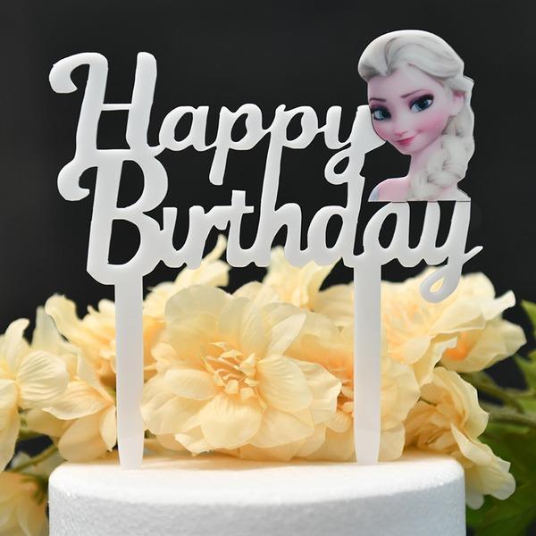Ce est une fille/Joyeux anniversaire Acrylique Décoration pour gâteaux (Vendu dans une seule pièce)