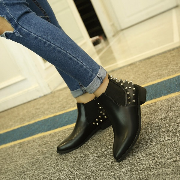 Women's PU Flat Heel Flats Ankle Boots With Rivet shoes