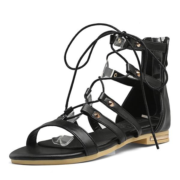 Vrouwen Kunstleer Low Heel Sandalen Peep Toe met Vastrijgen schoenen