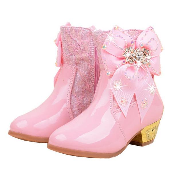 Fille de Bout fermé Cuir en microfibre Low Heel Bottes Chaussures de fille de fleur avec Bowknot Cristal