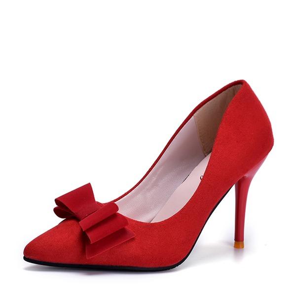 Женщины Замша Высокий тонкий каблук На каблуках Закрытый мыс с бантом обувь