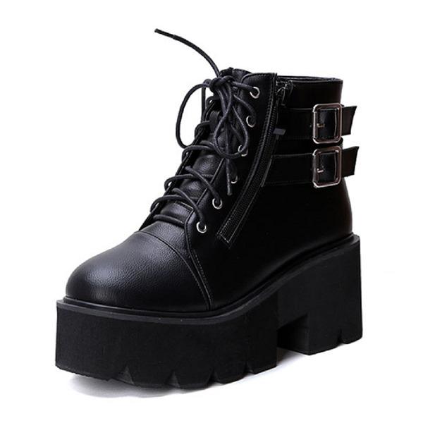 Kadın Suni deri Dolgu Topuk Kapalı Toe Bot Ayak bileği Boots Ile Kurdele ayakkabı