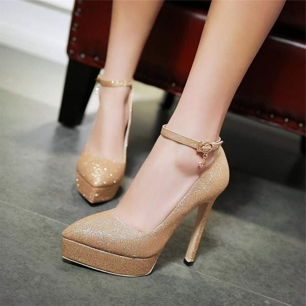 Women's Sparkling Glitter Stiletto Heel Pumps Platform With Sequin Buckle shoes