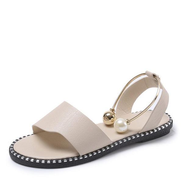 Frauen Kunstleder Flascher Absatz Sandalen Flache Schuhe Peep Toe Slingpumps mit Perle Schuhe