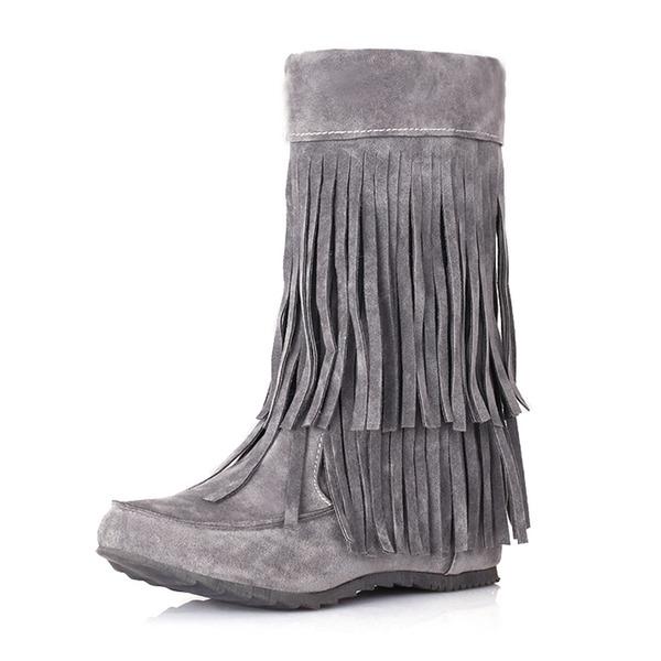 Frauen Veloursleder Keil Absatz Geschlossene Zehe Stiefel Stiefelette Stiefel-Wadenlang mit Quaste Schuhe
