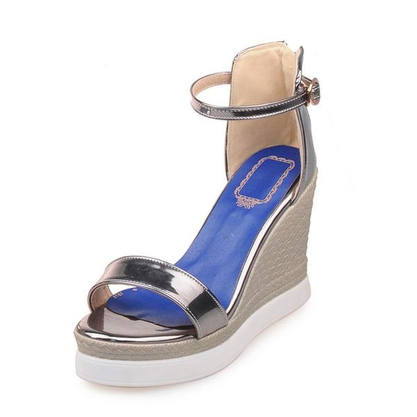 Vrouwen Kunstleer Wedge Heel Sandalen Wedges met Gesp schoenen