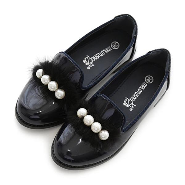 Mädchens Geschlossene Zehe Lackleder Blumenmädchen Schuhe mit Nachahmungen von Perlen