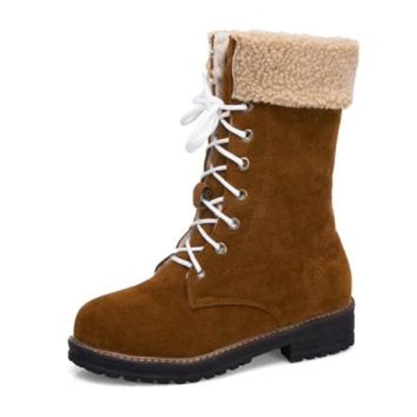 Women's Suede Chunky Heel Boots Mid-Calf Boots Snow Boots With Lace-up shoes