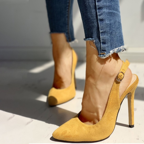 Women's Suede Stiletto Heel Sandals Pumps Slingbacks With Buckle shoes