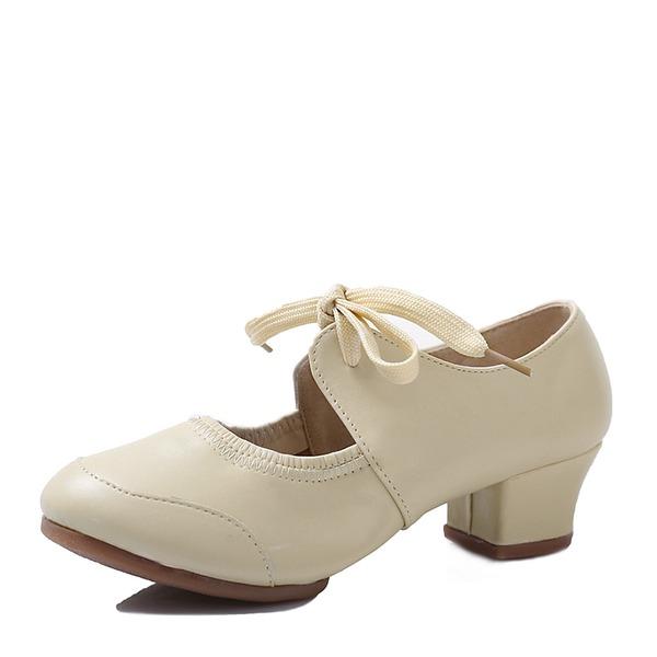 Женщины Кожа из микроволокна Танцевальные кроссовки Обувь для Персонала с Шнуровка Обувь для танцев