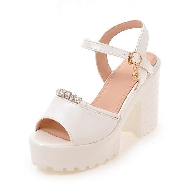 Women's Leatherette Stiletto Heel Sandals Pumps Platform Peep Toe Slingbacks With Buckle shoes