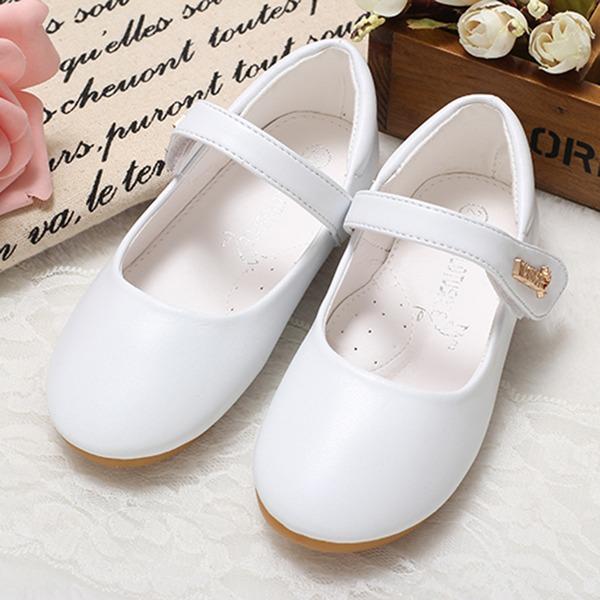 A menina de Fechados imitação de couro Heel plana Sem salto Sapatas do florista