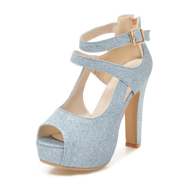 Frauen Funkelnde Glitzer Stämmiger Absatz Sandalen Absatzschuhe Plateauschuh Peep Toe mit Schnalle Schuhe