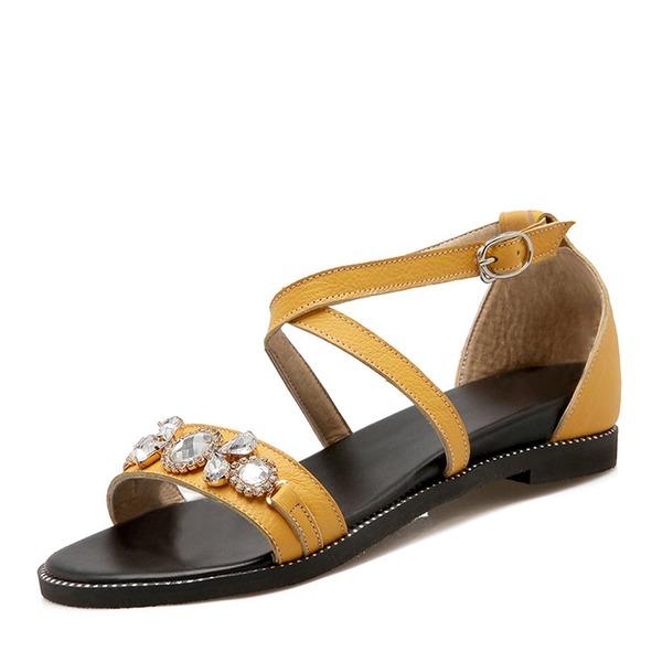 Vrouwen PU Flat Heel Sandalen Flats Peep Toe met Imitatie Parel schoenen