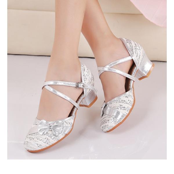 Crianças Tecido Espumante Glitter Salão de Baile Sapatos de dança