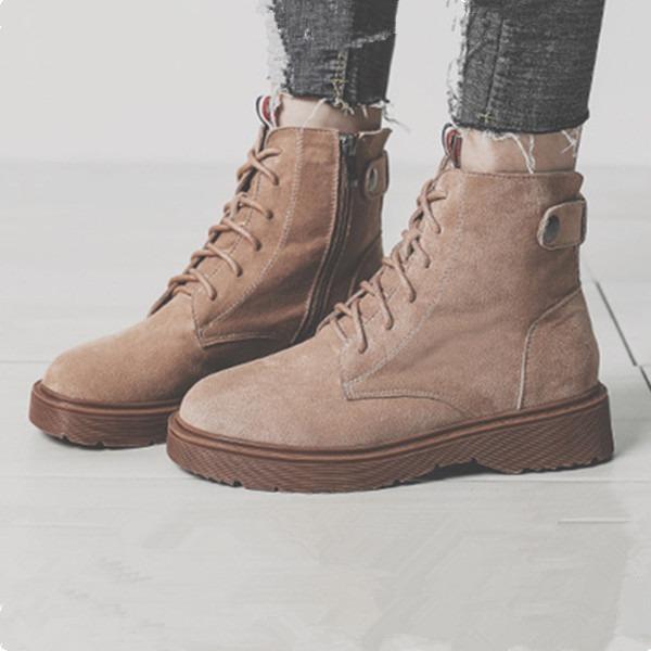 Kadın Süet Düz Topuk Bot Martin Boots Ile Fermuar ayakkabı