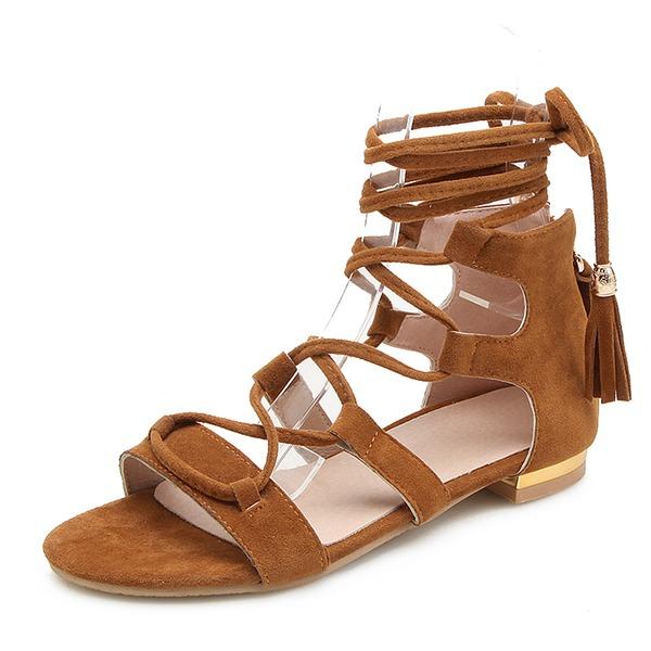 Mulheres Camurça Sem salto Sandálias Sem salto Peep toe com Aplicação de renda Oca-out sapatos