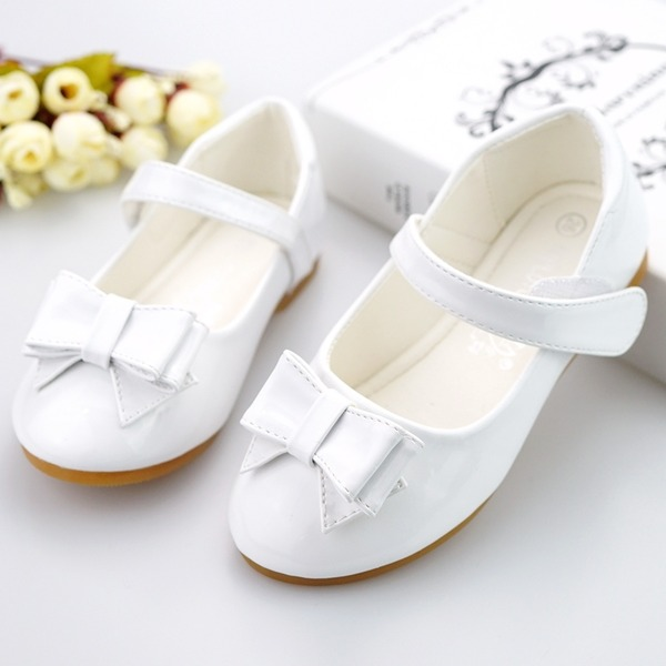 Jentas Round Toe Ballett Flat Leather flat Heel Flate sko Flower Girl Shoes med Bowknot Velcro