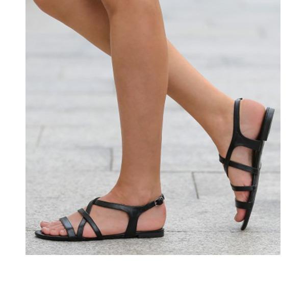 Femmes PU Talon plat Sandales Chaussures plates À bout ouvert Escarpins chaussures