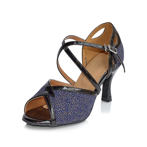Donna Glitter scintillanti Tacchi Sandalo Latino con Fibbia Cava-out Scarpe da ballo