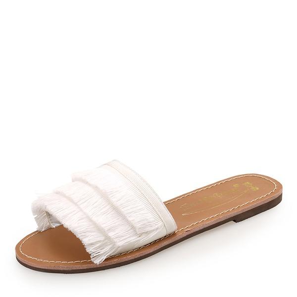 Mulheres Tecido Sem salto Peep toe Sapatos abertos Chinelos sapatos