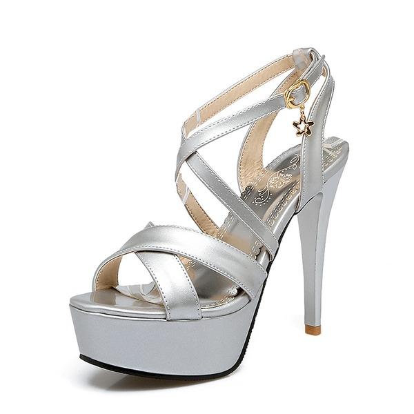 Mulheres PU Salto agulha Bombas Plataforma com Fivela sapatos