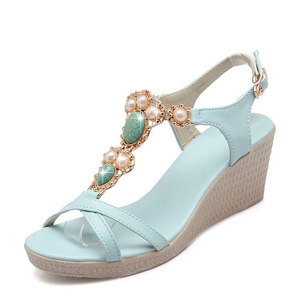 Women's Leatherette Wedge Heel Pumps Wedges With Imitation Pearl shoes