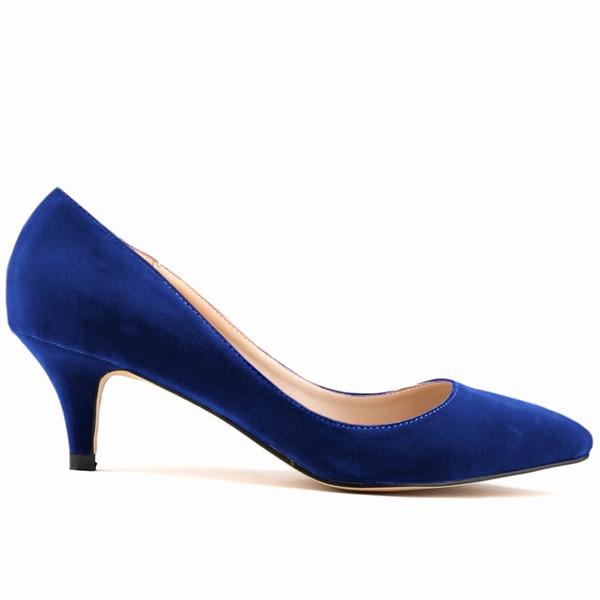 Women's Suede Kitten Heel Pumps Closed Toe shoes