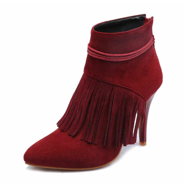 Women's Suede PU Stiletto Heel Pumps Closed Toe Boots Mid-Calf Boots With Tassel shoes