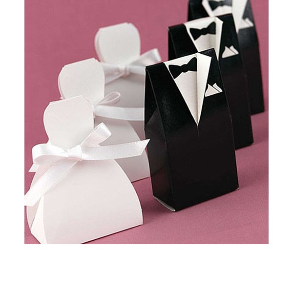 Bride & Groom Favor Boxes With Ribbons (Set of 6 Pairs)