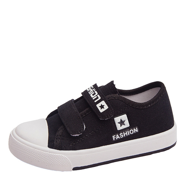 Unisexmodell Round Toe Lukket Tå Lerret flat Heel Flate sko Sneakers & Athletic med Velcro