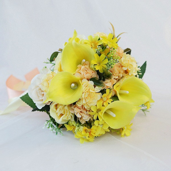 Rund Kunstige Blomster Brude Buketter (som selges i et enkelt stykke) - Brude Buketter