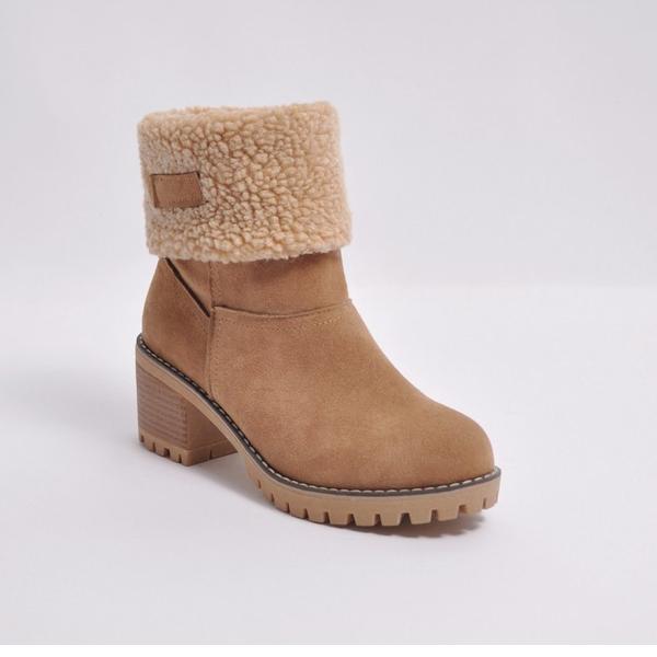 Frauen Veloursleder Stämmiger Absatz Absatzschuhe Geschlossene Zehe Stiefel Stiefelette Schneestiefel mit Pelz Schuhe