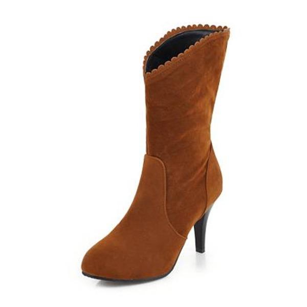 Frauen Veloursleder Kegel Absatz Absatzschuhe Stiefel Stiefel-Wadenlang mit Andere Schuhe