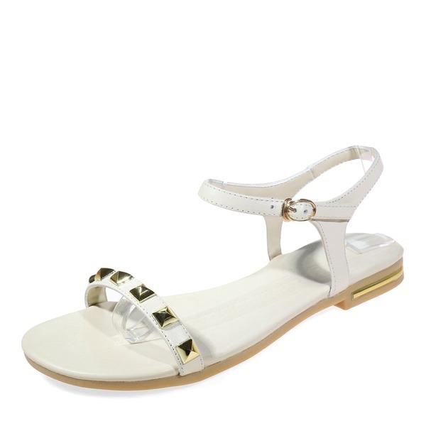Vrouwen Echt leer Flat Heel Sandalen Flats Peep Toe Slingbacks met Klinknagel Gesp Vastrijgen schoenen