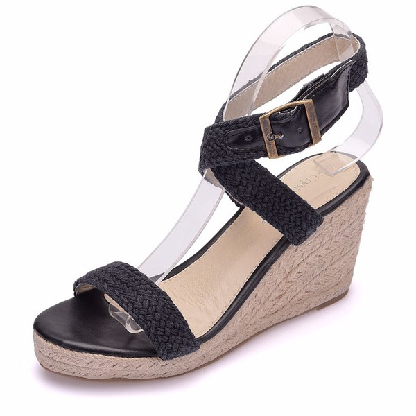 Women's Mesh Wedge Heel Peep Toe Sandals Wedges With Buckle Hollow-out