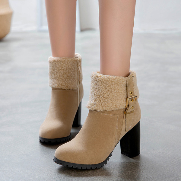 Women's Suede Stiletto Heel Boots Ankle Boots With Buckle Zipper shoes