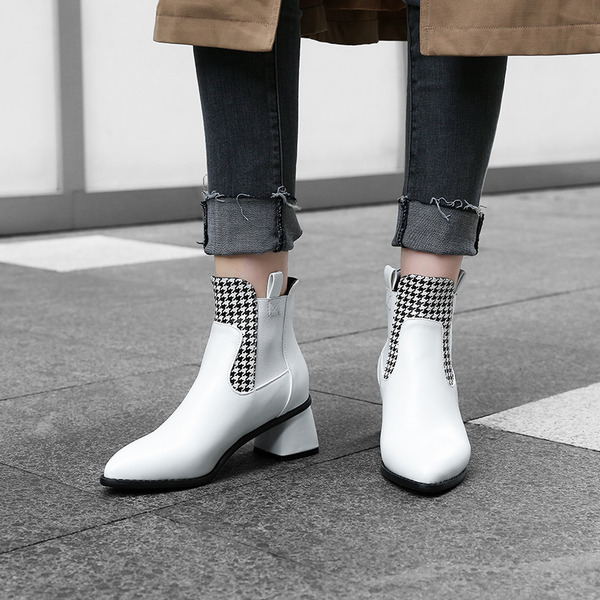 Leatherette Cone Heel Pumps Ankle Boots With Split Joint shoes