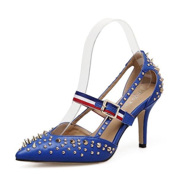 Mulheres Couro Salto agulha Bombas Fechados sapatos