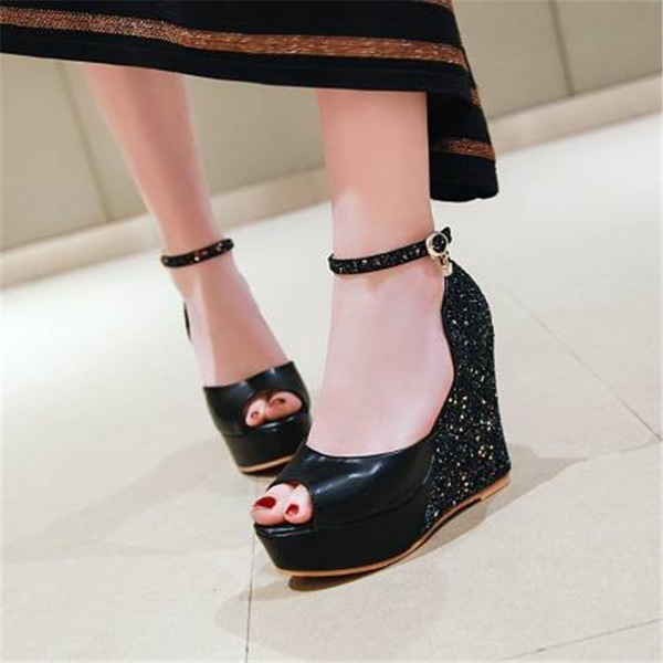 Women's Leatherette Wedge Heel Sandals Pumps With Split Joint shoes