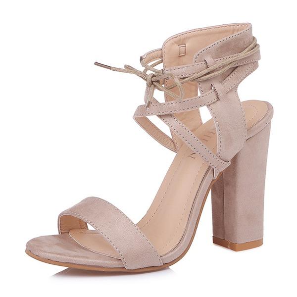 Naisten Mokkanahka Chunky heel Sandaalit Avokkaat Peep toe jossa Nauhakenkä kengät