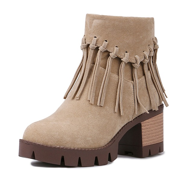 Frauen Veloursleder Stämmiger Absatz Absatzschuhe Geschlossene Zehe Stiefel Stiefelette Stiefel-Wadenlang Reitstiefel mit Quaste Schuhe