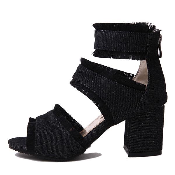 Naisten Kangas Chunky heel Sandaalit Avokkaat jossa Vetoketju kengät