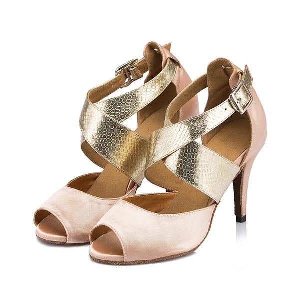 Frauen Stoff Heels Sandalen Latin mit Knöchelriemen Tanzschuhe