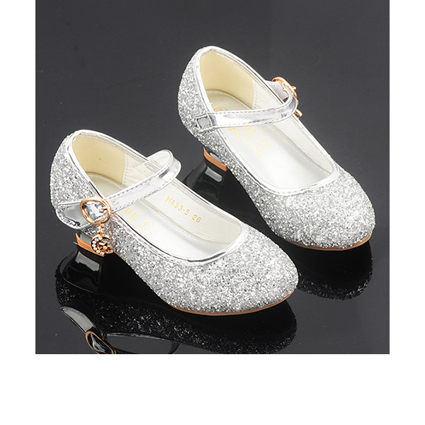 Jentas Round Toe Sparkling Glitter Flower Girl Shoes med Crystal
